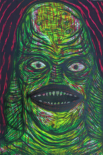 Creature From the Black Lagoon  Woodcut