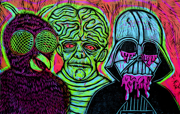 Monstruos Diabolicos Color Woodcut