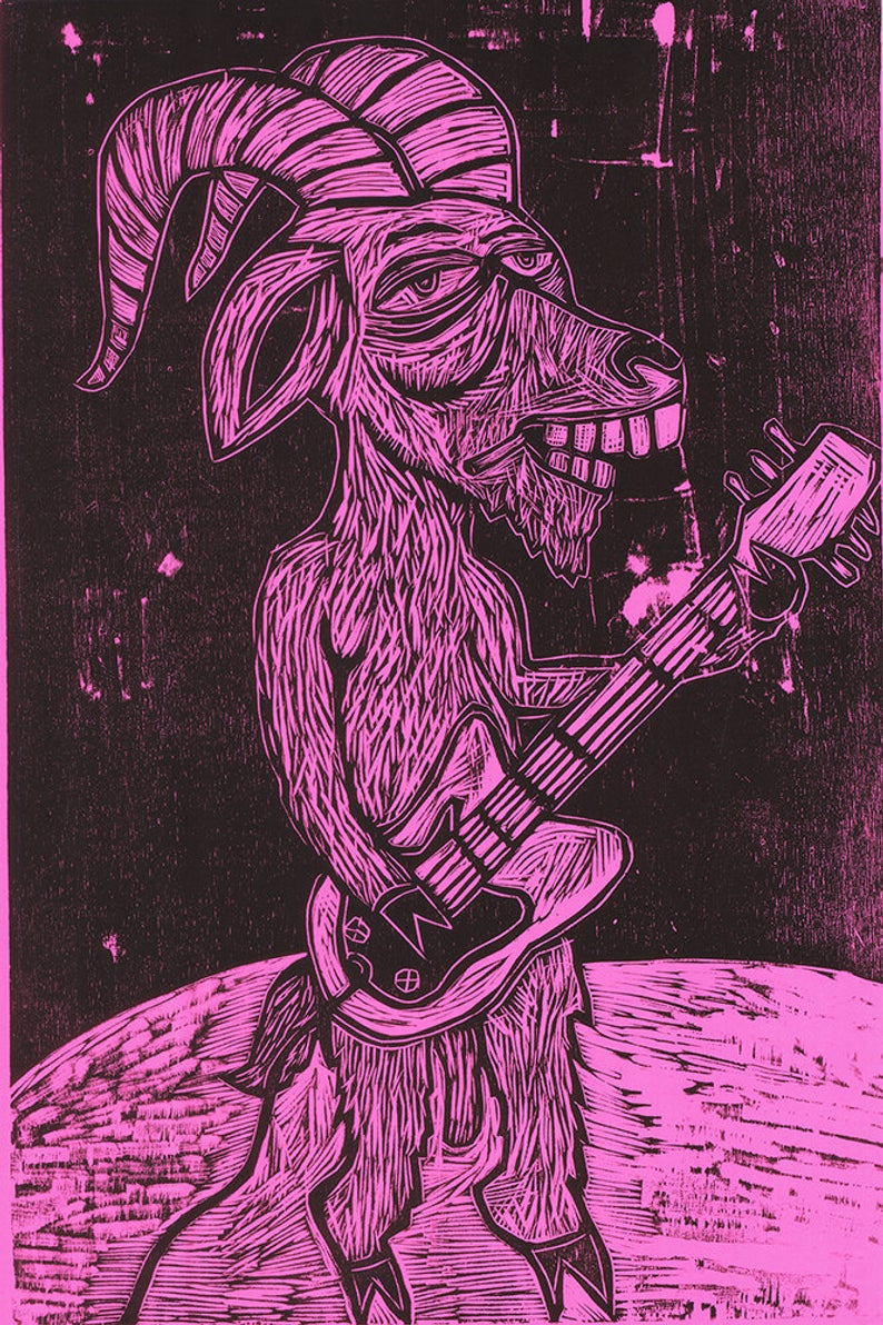 GoatAr Hero woodcut