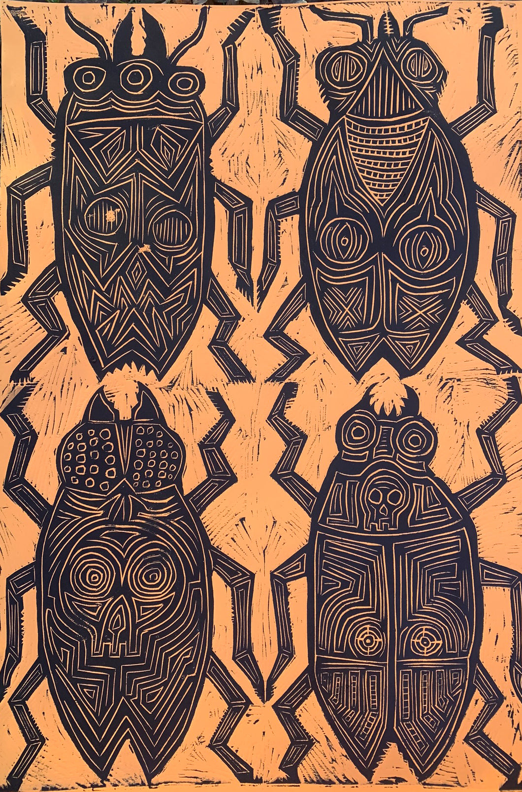 Beetles Woodcut