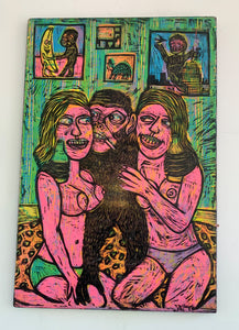 Blonde Ambition Woodcut Printed on Wooden Panel