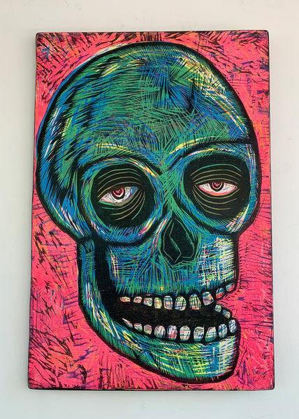 Skull Woodcut Printed on Wooden Panel