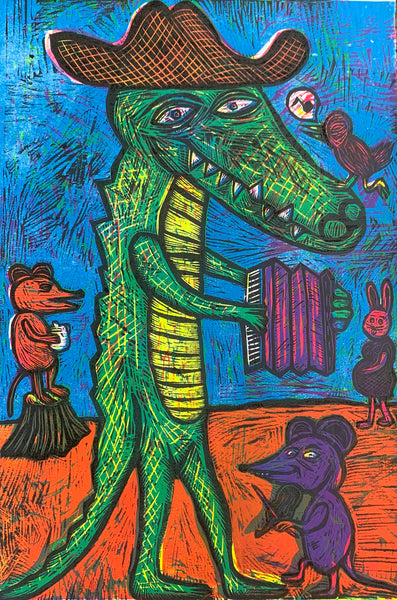 Cajun Gator Color Woodcut