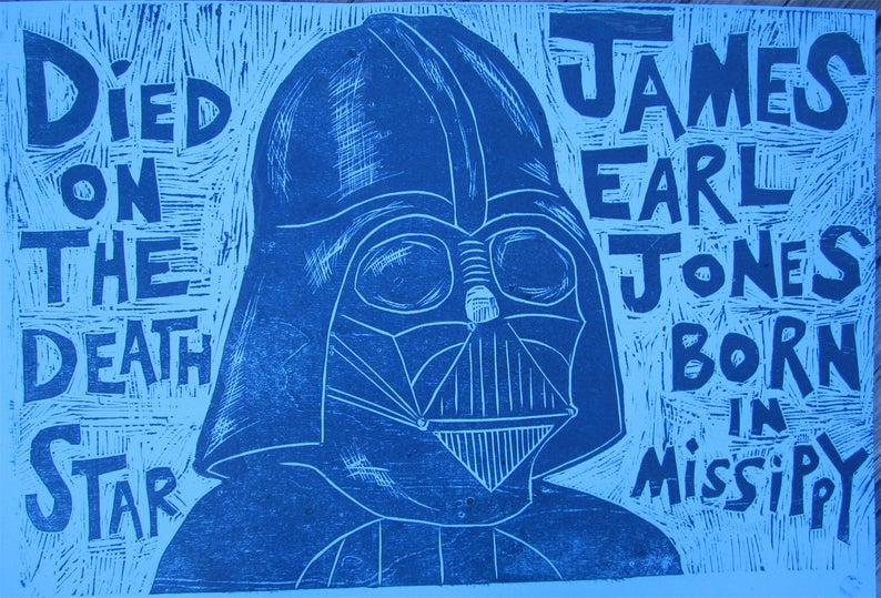 Darth Vader/James Earl Jones Woodcut