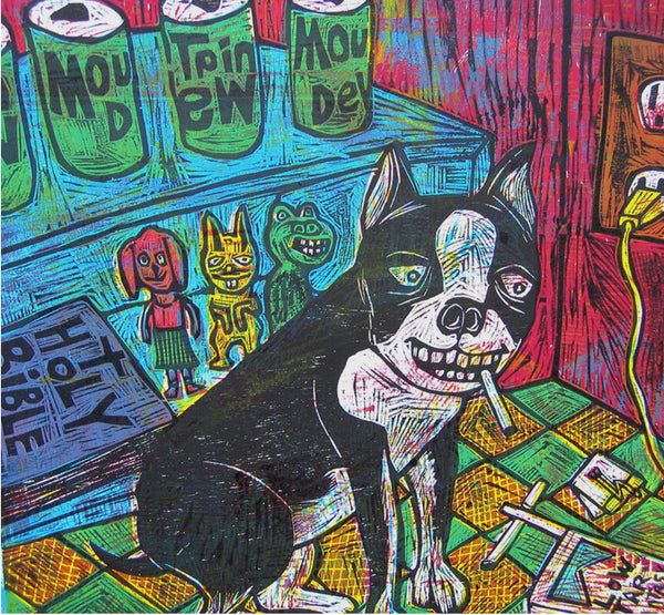 Devil Dog Multiblock Color Woodcut