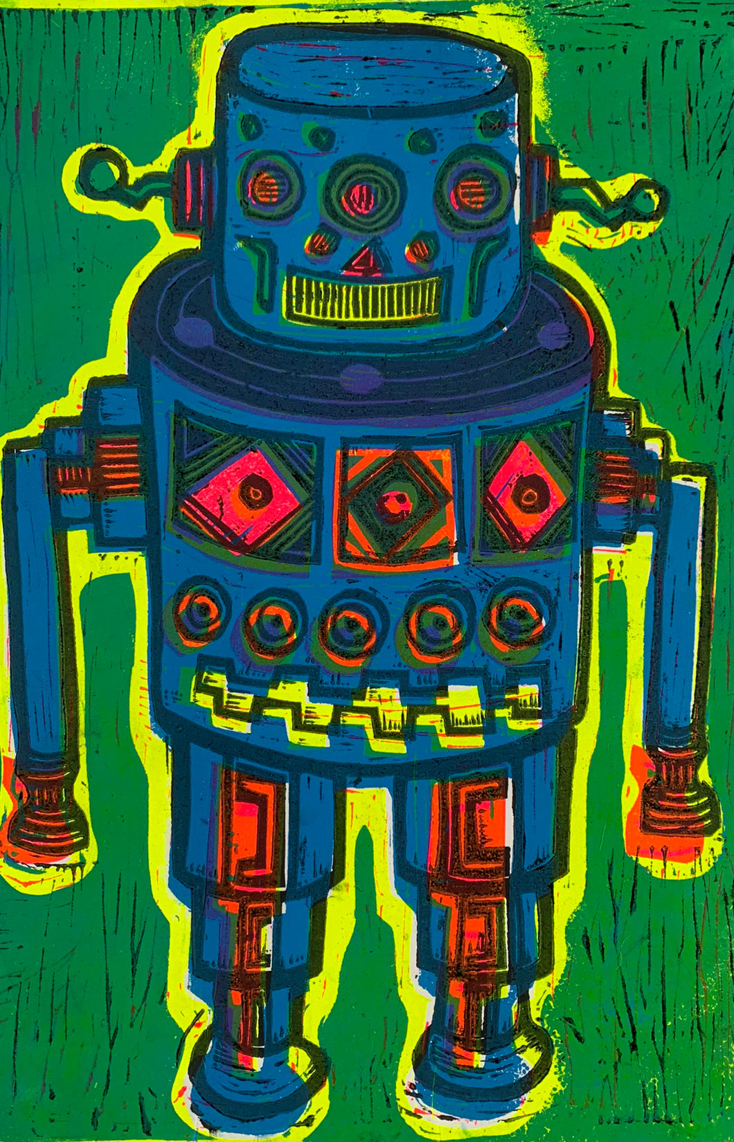 Blue Robot Linocut Editioned Print