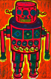 Red Robot Linocut Editioned Print