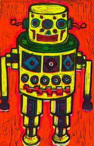 Yellow Robot Linocut Editioned Print
