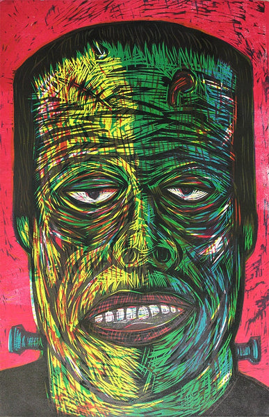 Frankenstein Color Woodcut