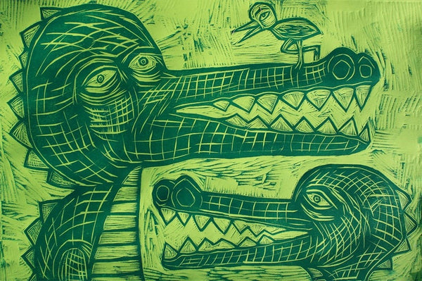 Gators and Bird Woodcut