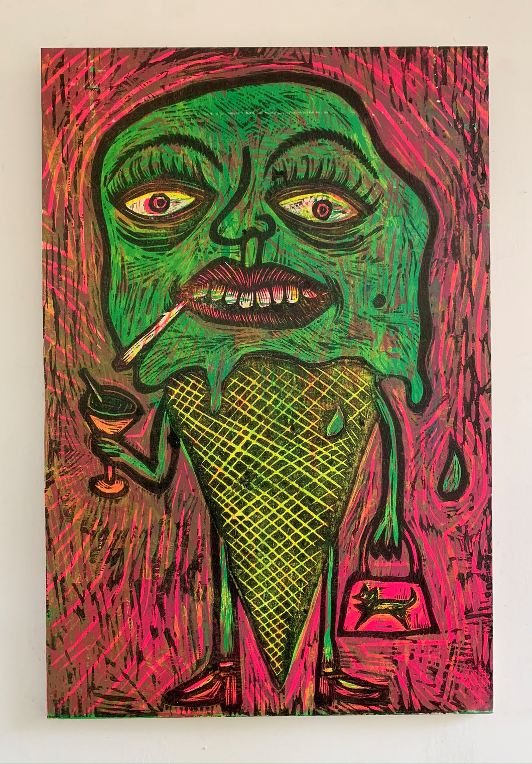 Green Melt Down Woodcut Printed on Wooden Panel