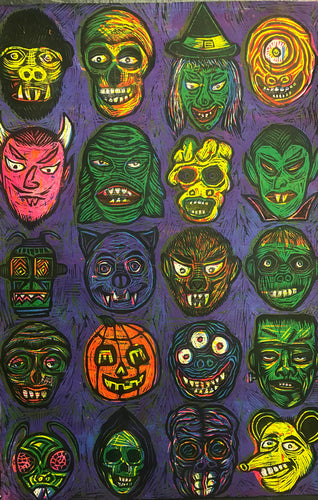 Monster Faces Color Woodcut