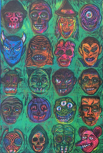 Monster Faces Color Woodcut 2020 edition pre-order