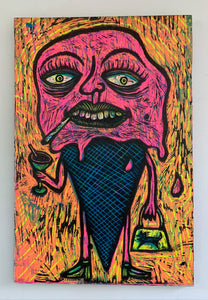 Pink Melt Down Woodcut Printed on Wooden Panel
