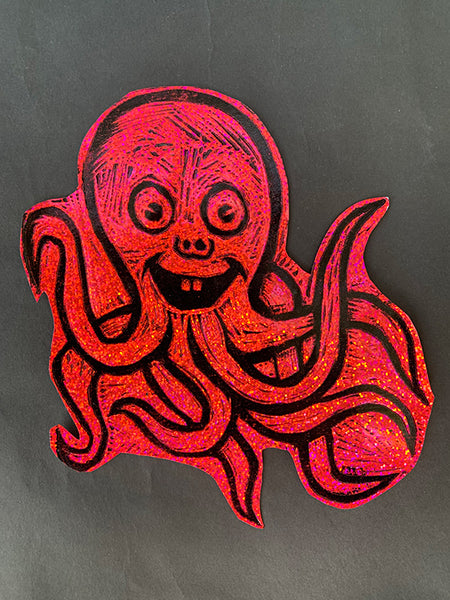 Octopus  Glitter Sticker