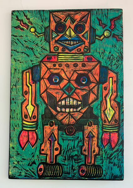 Robot Woodcut Printed on Wooden Panel