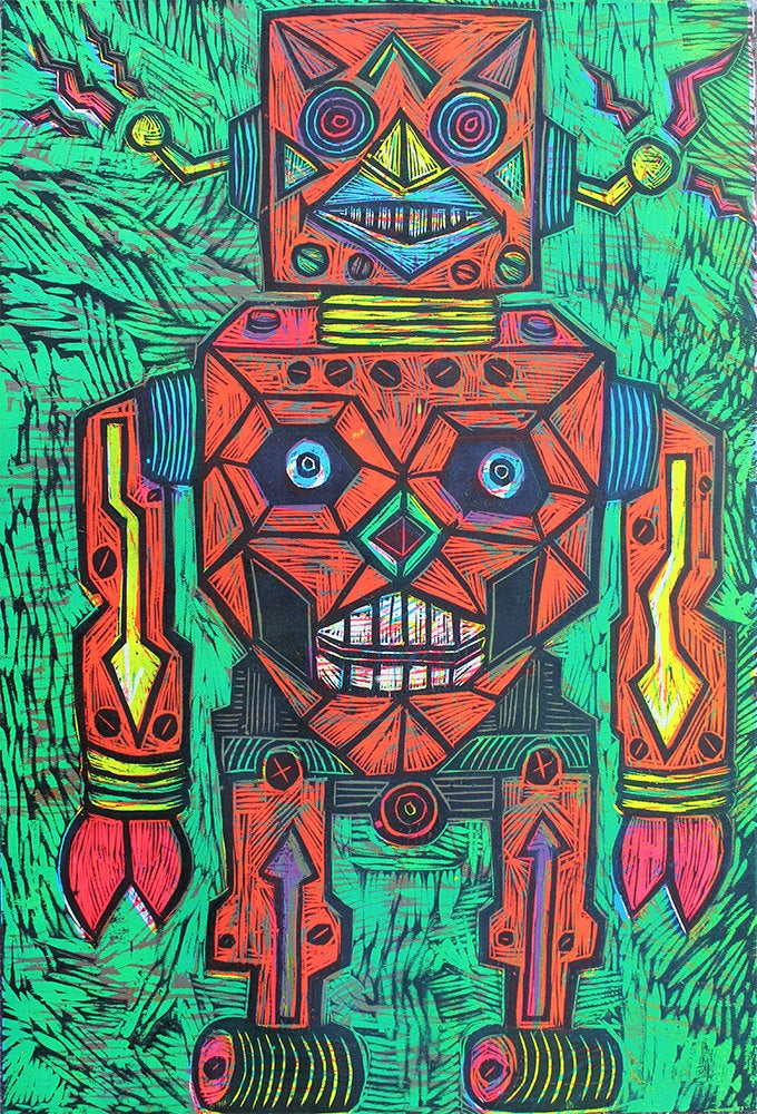 Robot Multi block Color Woodcut