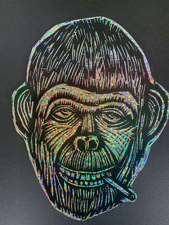 Chimp Glitter Sticker