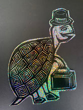 Load image into Gallery viewer, Top Hat Turtle Glitter Sticker