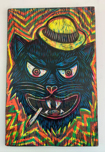 Tough Cat Woodcut Printed on Wooden Panel
