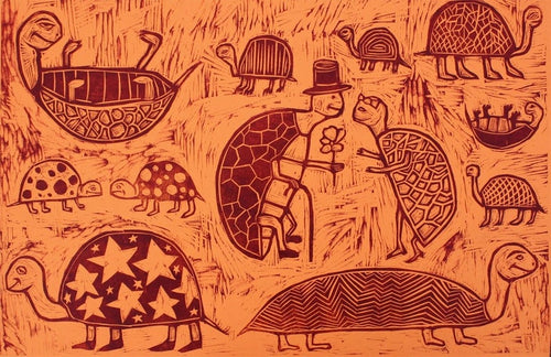 Turtles woodcut