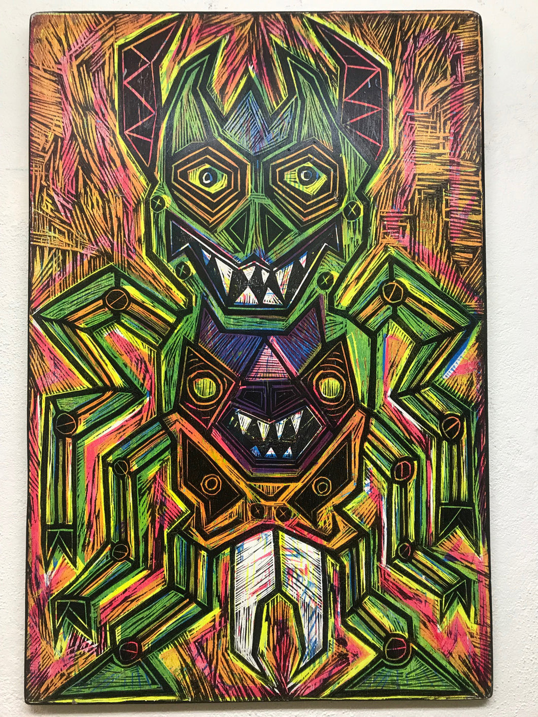 Warlord Woodcut Printed on Wooden Panel