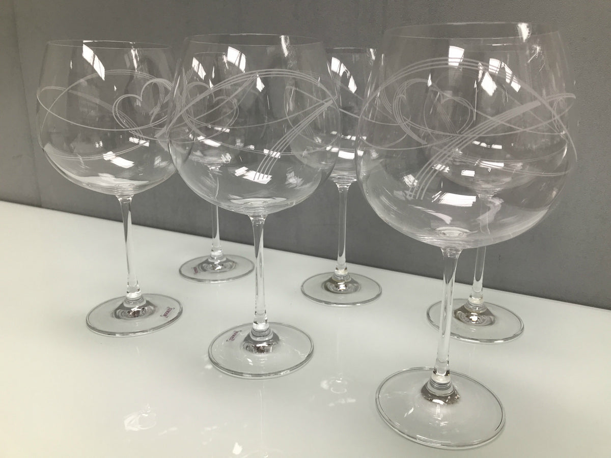 Set of 6 Etched Swirl Heart Gin Glasses 940ml