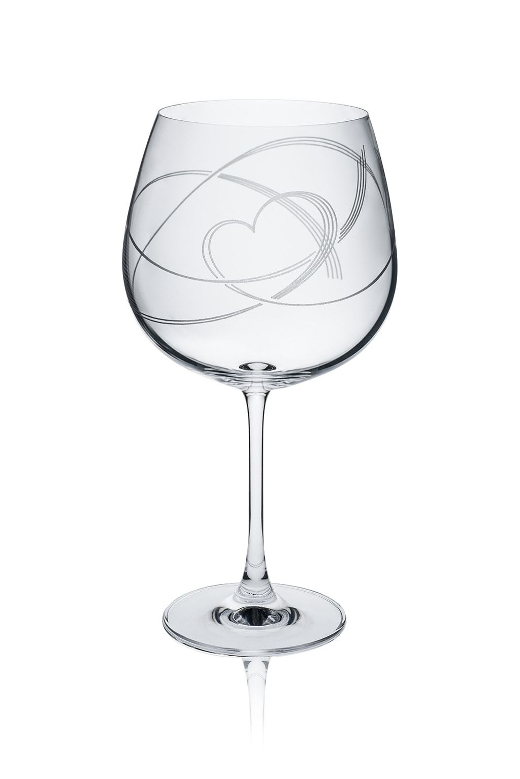 Swirl Heart Gin Glass - part of set of 6 drinking glasses