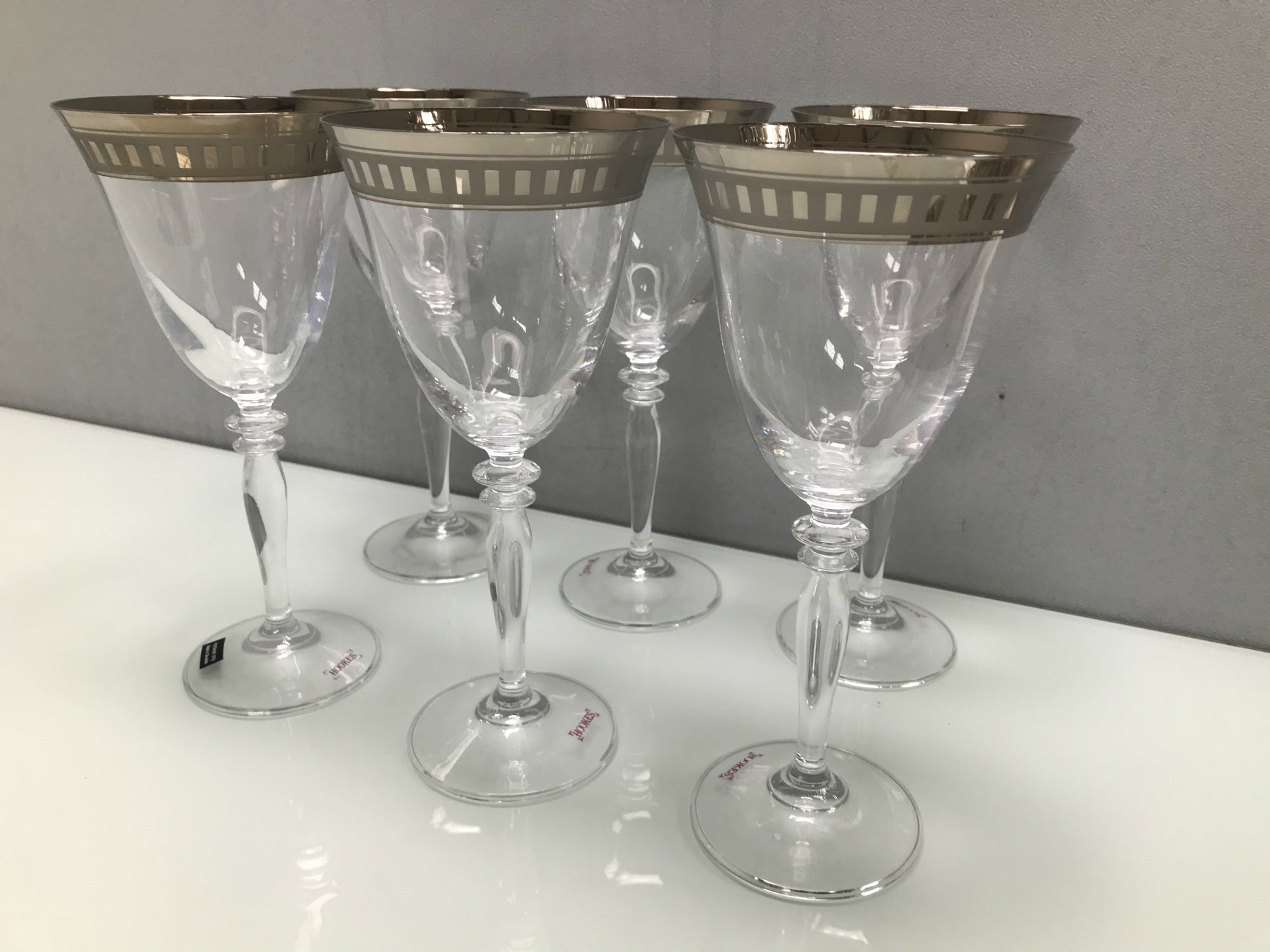 Platinum Rim Wine Glasses - Set of 6