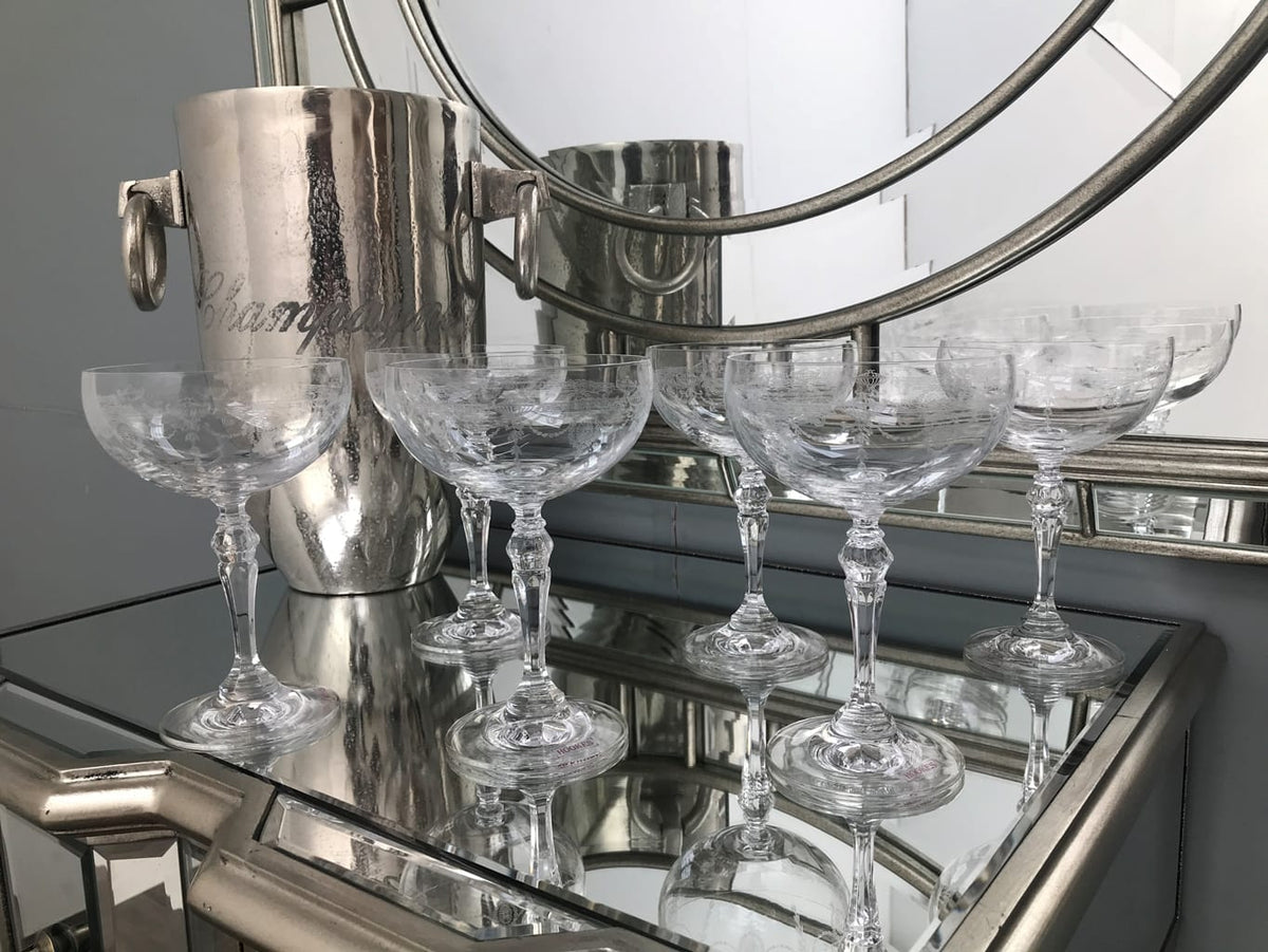 Set of 6 Catherine Champagne Coupes standing in front of a mirror