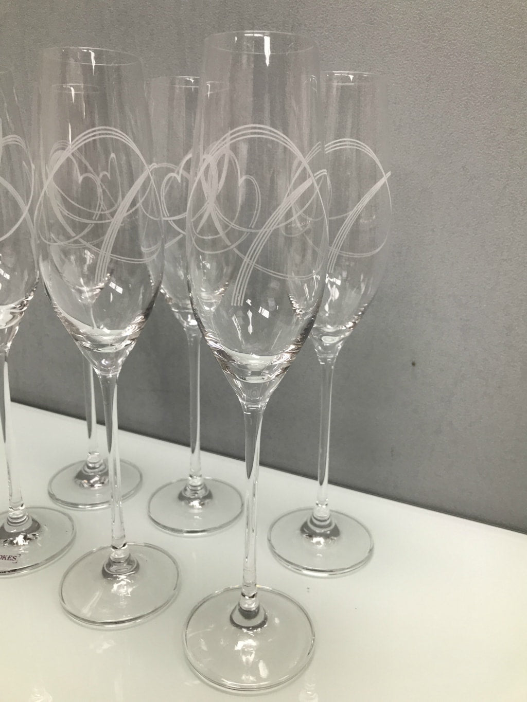 Swirl Heart Champagne Flutes - Set of 6