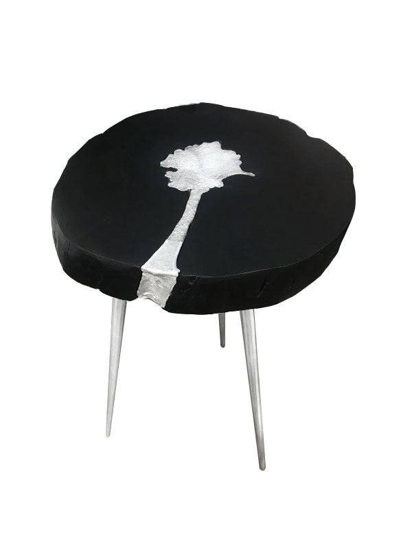 Wooden Aluminum Side Table with Three Metal legs, view from top front angle