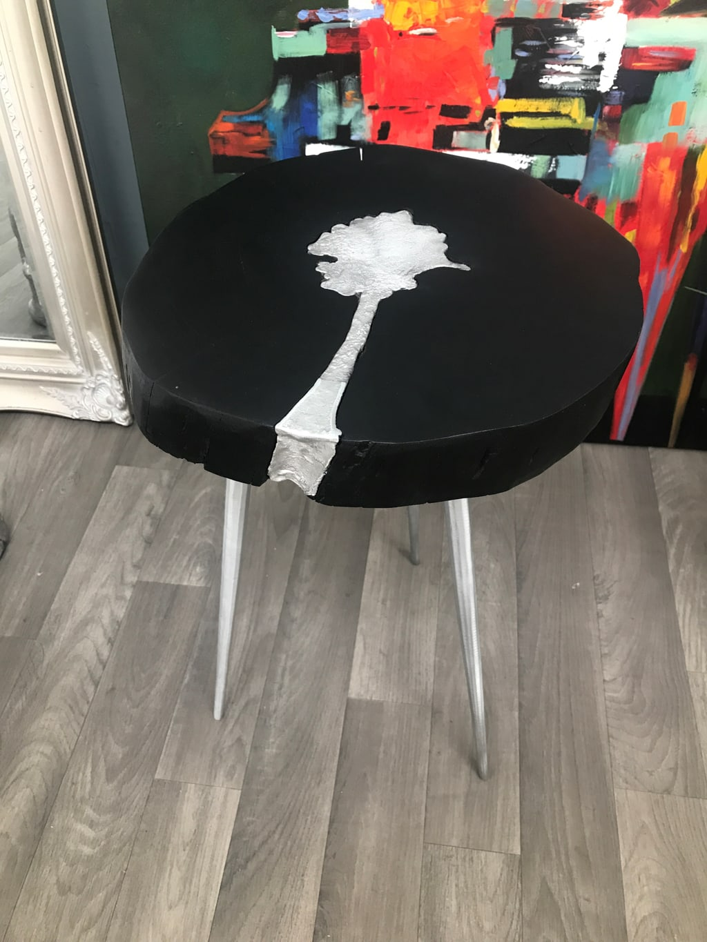 Side Table with Black Wooden Top And 3 Aluminium Legs and Infil