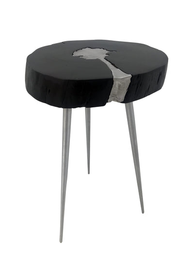 Art Deco Side Table 100% Natural BLACK Wooden Top And Aluminium Legs