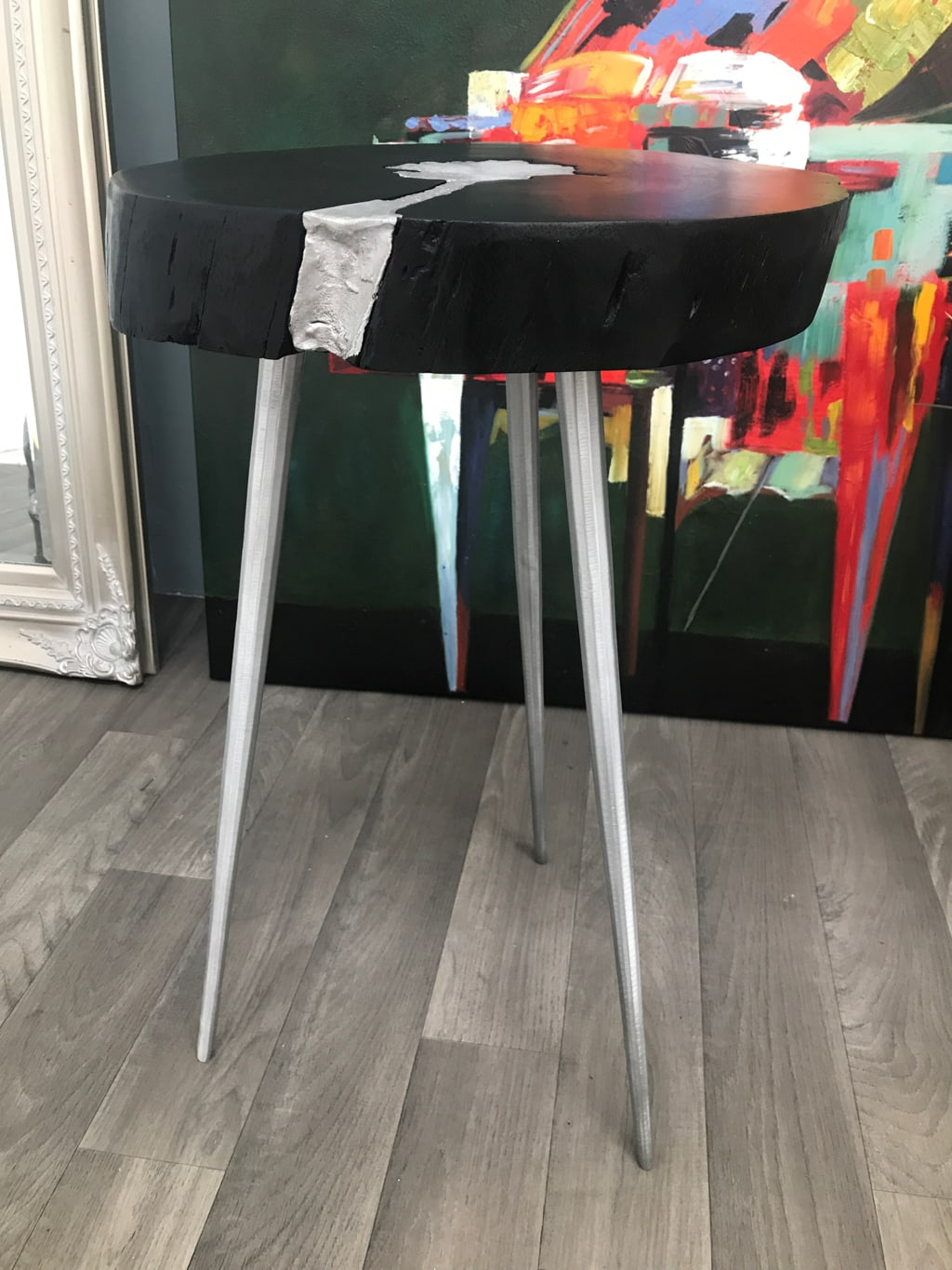 Art Deco Side Table with Black Wooden Top And Aluminium Legs