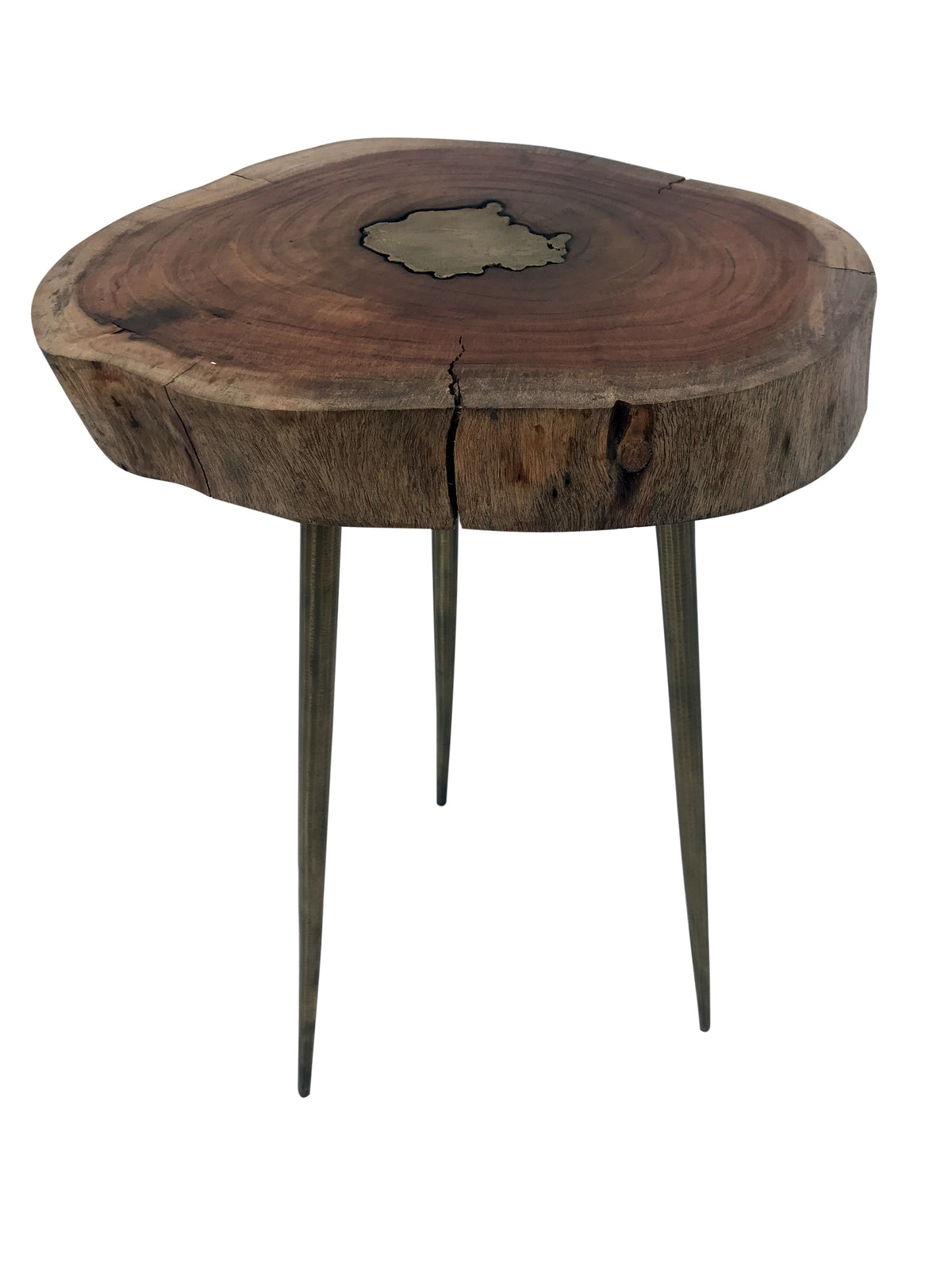 Artistic Side Table 100% Natural Wooden Top With Brass Infil And 3 Legs