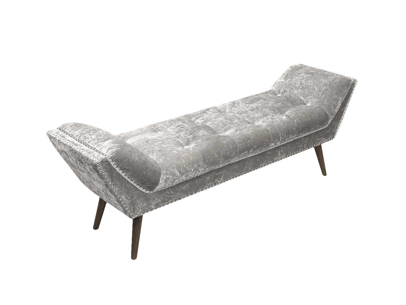 Chaise longue in crushed velvet silver finish with studs