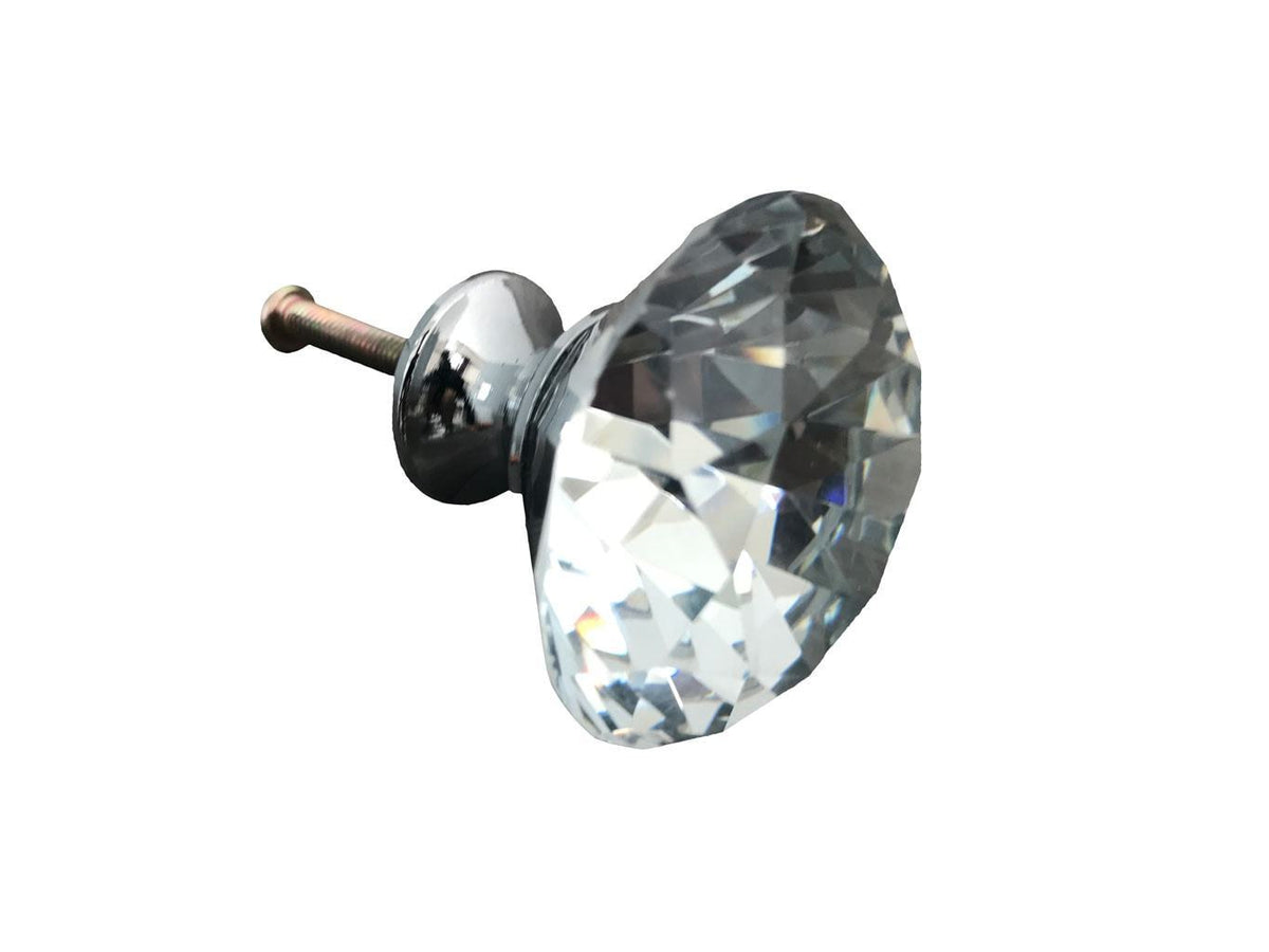 Diamante Handle Crystal Glass Knob, side view
