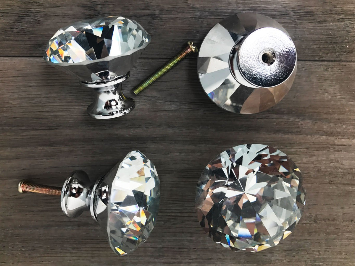 Diamante Handle Crystal Glass Knob - Set of 4