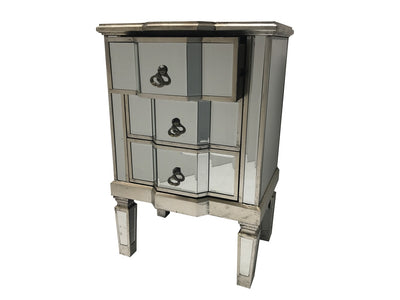 Mirrored Bedside Table with Three Drawers with top one open