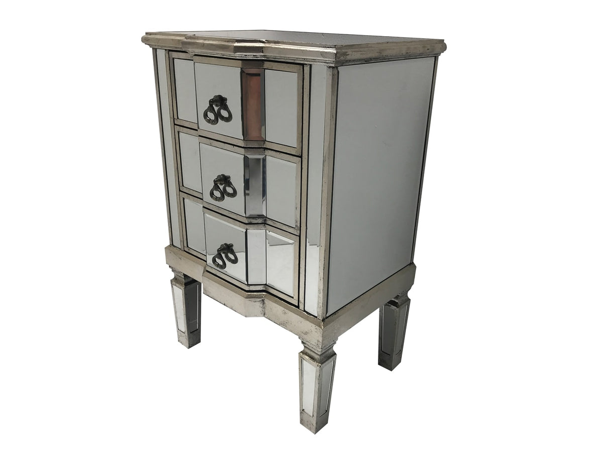 Mirrored Bedside Table » 3 Drawers