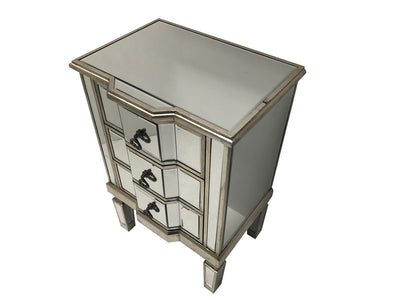 Mirrored Bedside Table with Three Drawers, view from top left angle