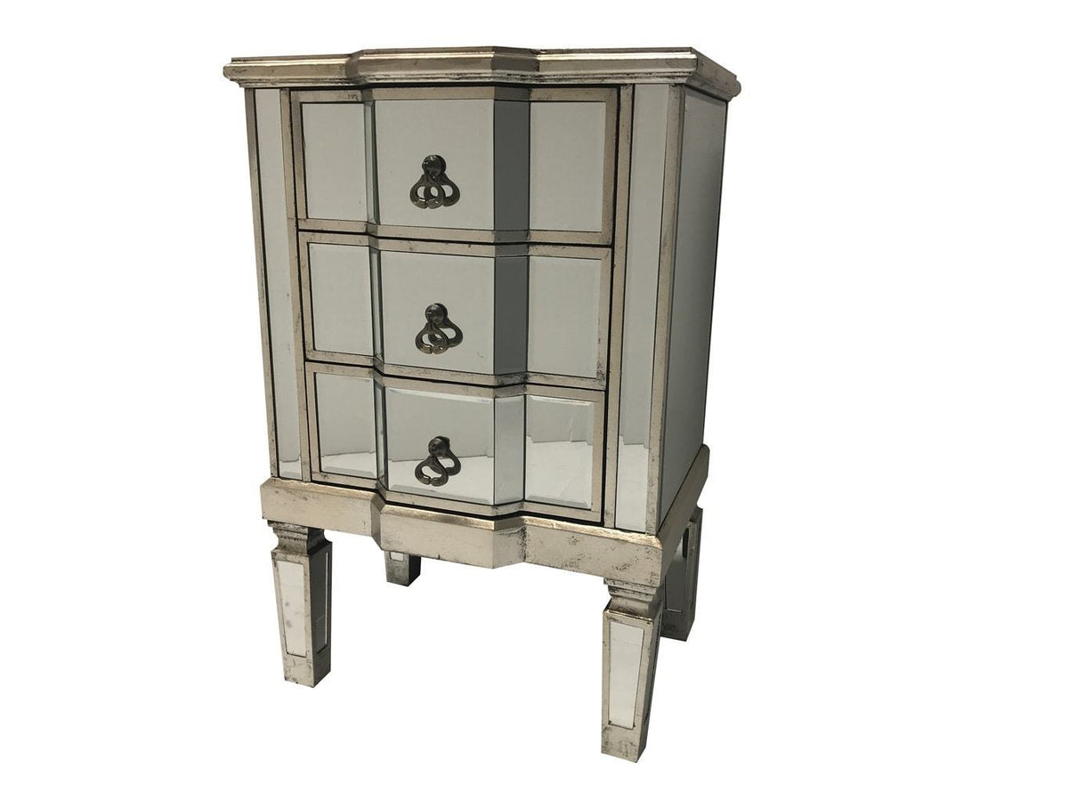 Charleston Mirrored Side Table with 3 Drawers, view from left side angle