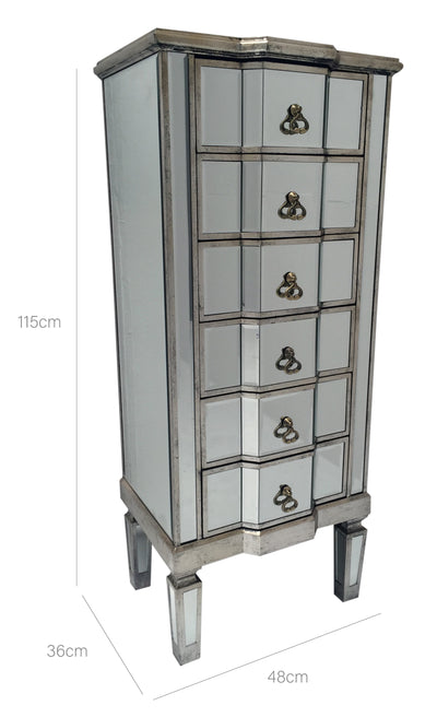 Charleston Mirrored Tall Chest of 6 Drawers