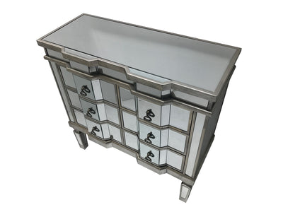 Mirrored Chest of Drawers - Large 6 Drawers, Antique Silver Shade (Charleston Range)