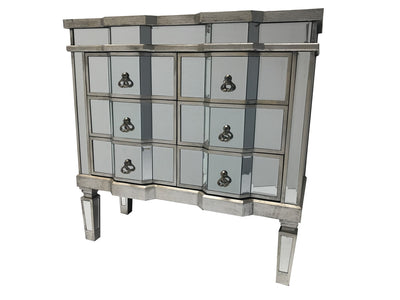 Mirrored Chest of Drawers - 6 Drawers, Antique Silver Shade