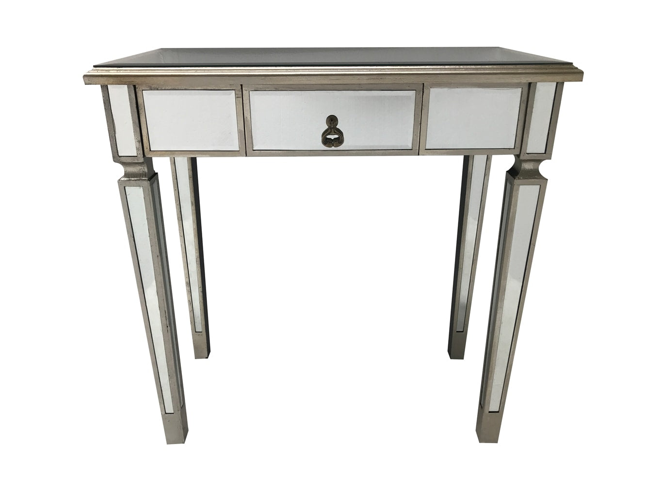 Mirrored Console Table - Slim Single Drawer Silver Finish (Charleston Range)