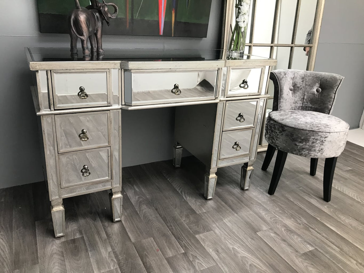 Silver mirrored dressing table vanity with 7 drawers