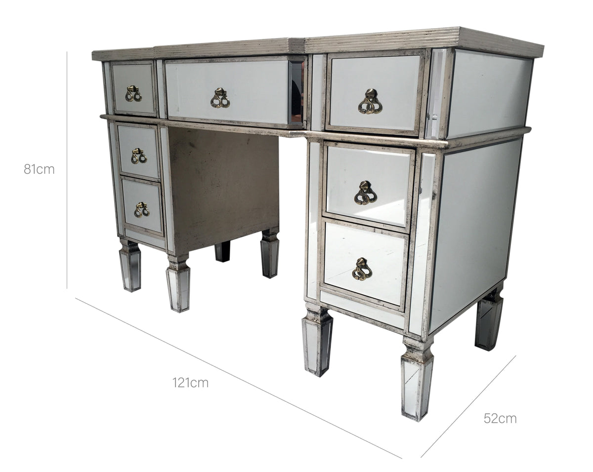 Mirrored dressing table with 7 drawers and brass handles
