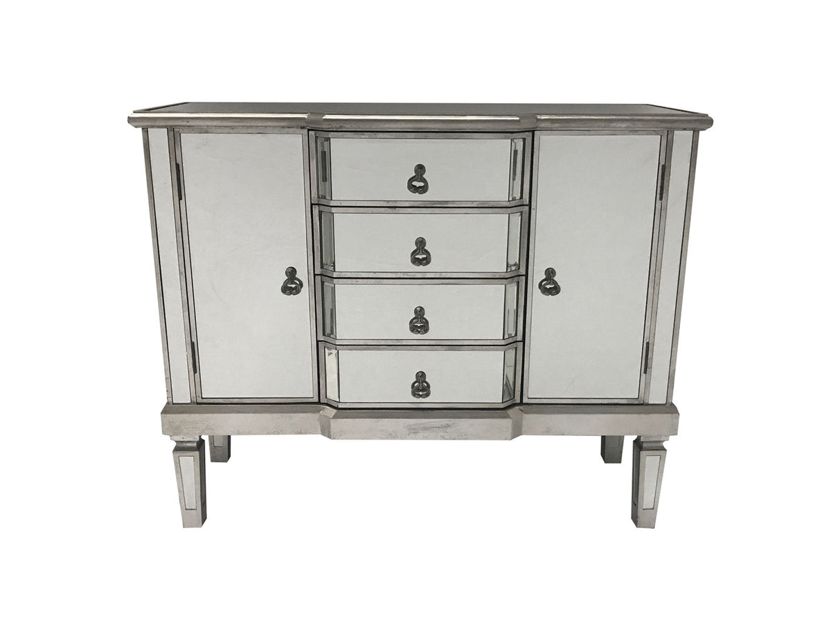 Charleston Mirrored Sideboard with 4 Drawers and 2 Cupboards